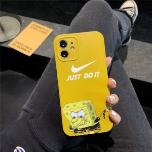 スポンジ ボブ スマホケース ナイキ iphone12/12mini 携帯カバー ペア nike iphone11pro maxケース キャラクター ピンク イエロー アイフォンケースx/xs おもしろ