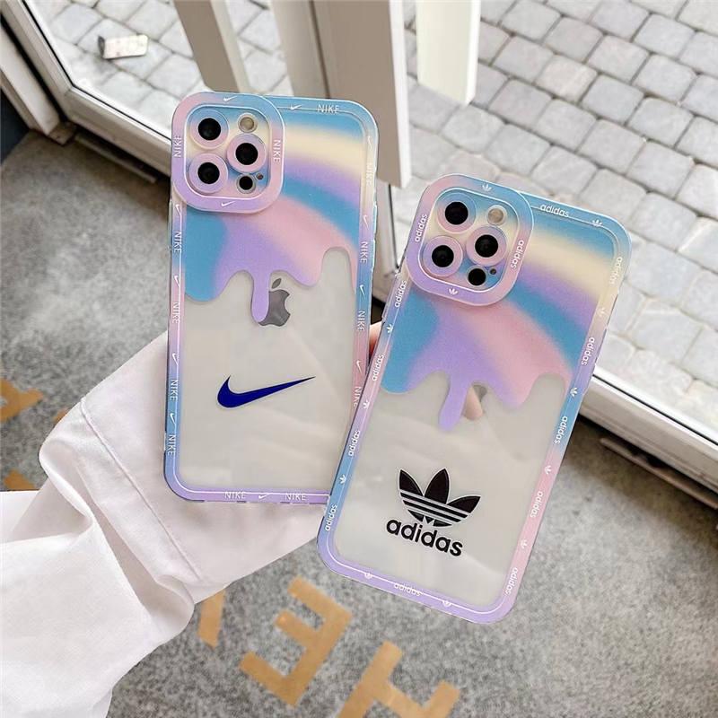 iphone13 クリア ケース おしゃれ Nike iphone12/12pro maxケース 虹色 アディダス スマホケース 11pro 女子 高校生 人気 iphonex/xr 透明カバー おすすめ 丈夫