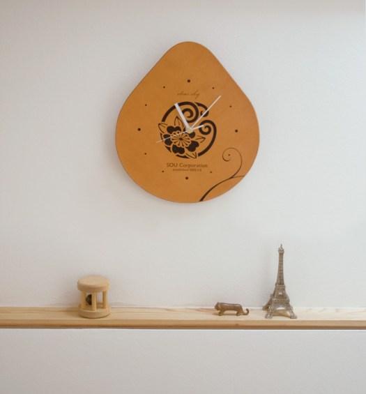 天然牛革製 壁掛け時計 MonClock
