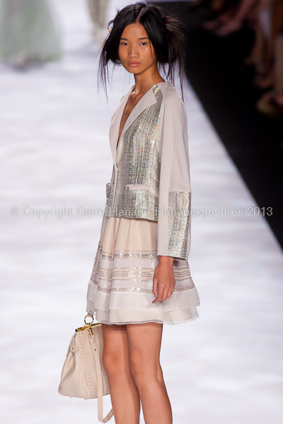 A model on the runway at the Badgley Mischka SS2013 show at New York Mercedes-Benz Fashion Week.