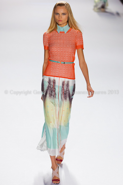 A model on the runway at the Carolina Herrera SS2013 show at New York Mercedes-Benz Fashion Week.
