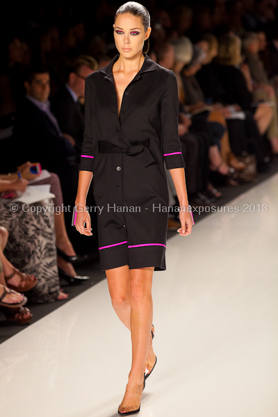 A model on the runway at the Chado Ralph Rucci SS2013 show at New York Mercedes-Benz Fashion Week.