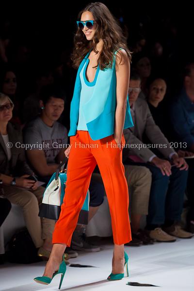 A model on the runway at the Diane Von Furstenberg SS2013 show at New York Mercedes-Benz Fashion Week.