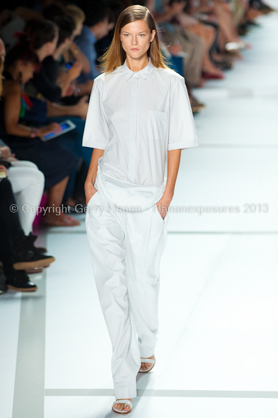 A model on the runway at the Lacoste SS2013 show at New York Mercedes-Benz Fashion Week.