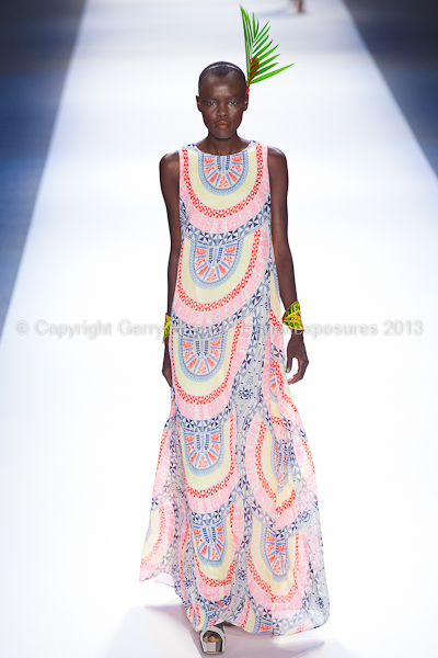 A model on the runway at the Mara Hoffman SS2013 show at New York Mercedes-Benz Fashion Week.