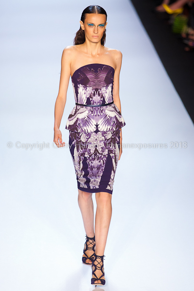 A model on the runway at the Monique Lhuillier SS2013 show at New York Mercedes-Benz Fashion Week.