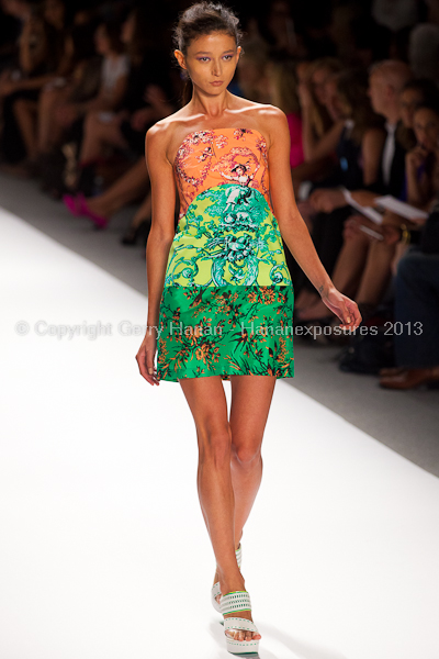 A model on the runway at the Nanette Lepore SS2013 show at New York Mercedes-Benz Fashion Week.