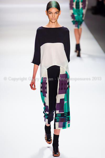 A model on the runway at the Vivienne Tam SS2013 show at New York Mercedes-Benz Fashion Week.