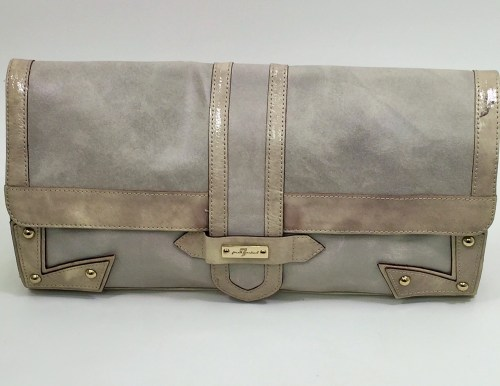 For All Mankind - Taupe Leather & Patent Leather Large Clutch