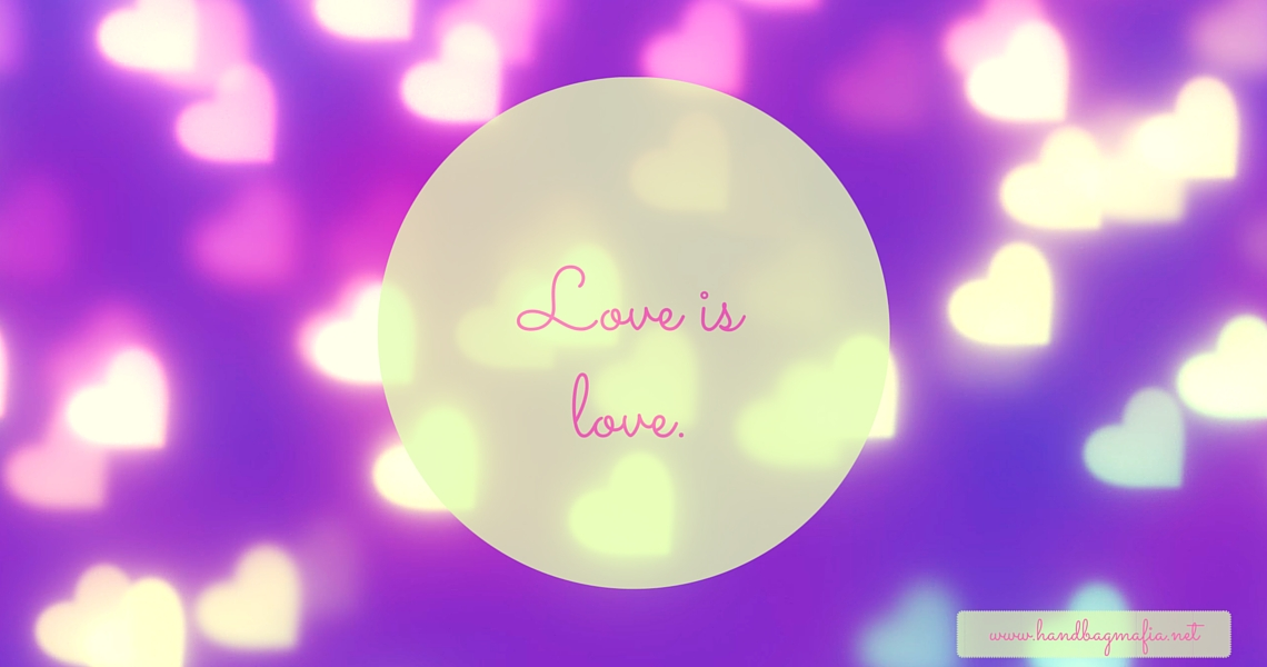 Same Sex Marriage - Image of hearts on a mauve background with text saying love is love.