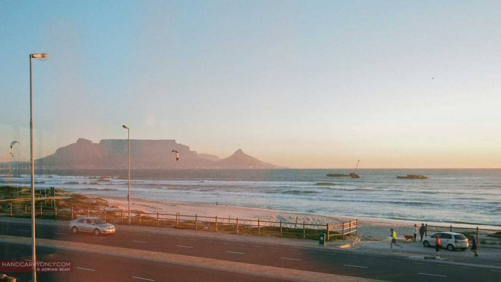 Table Bay at sunset with Table Mountain behind