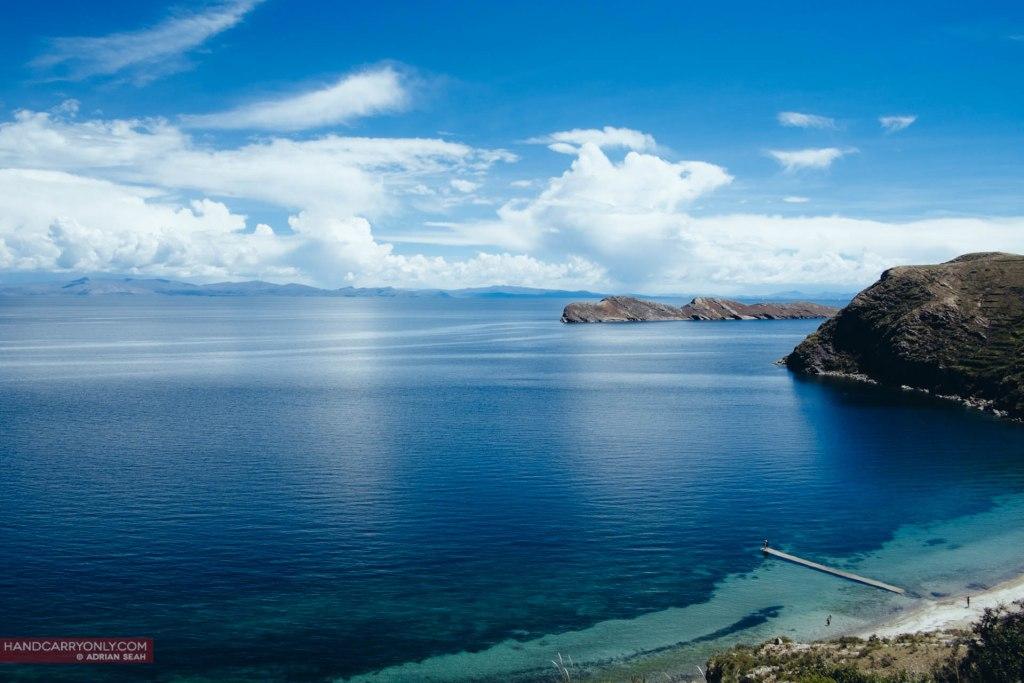 blue water of lake titicaca bolivia
