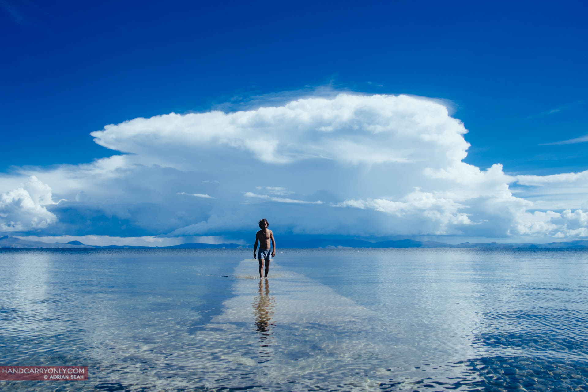 Man on water Isla del Sol Bolivia