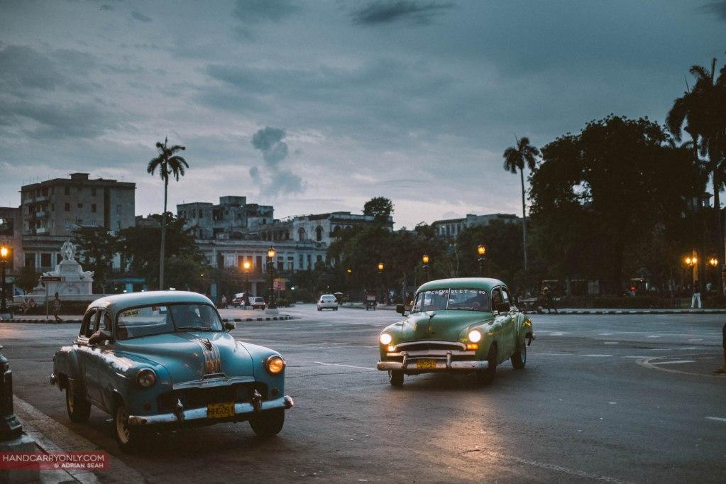 two classic cars havana cuba