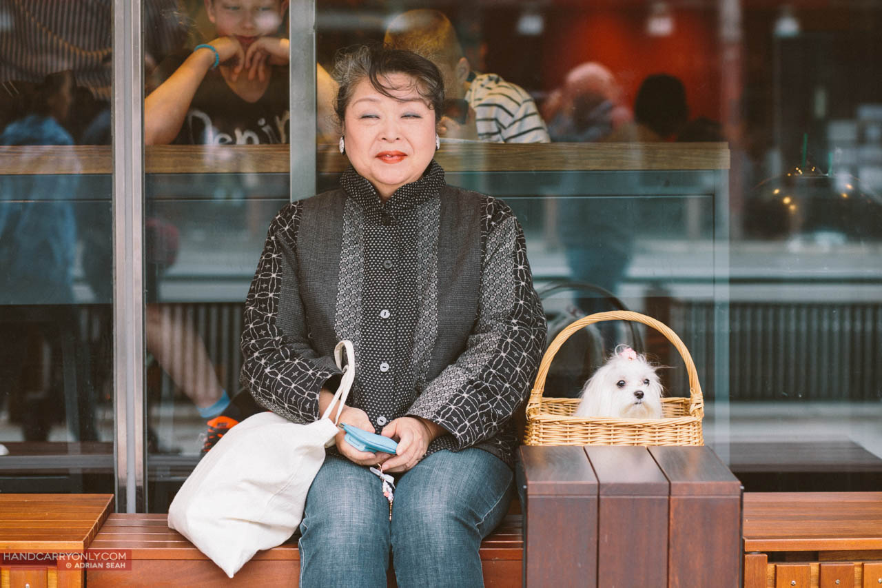 cute old lady with dog in a basket kyoto japan