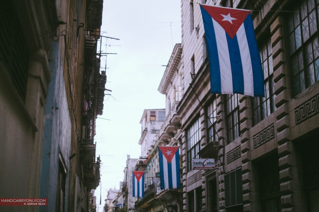 Cuban flags hanging in the streets of havana