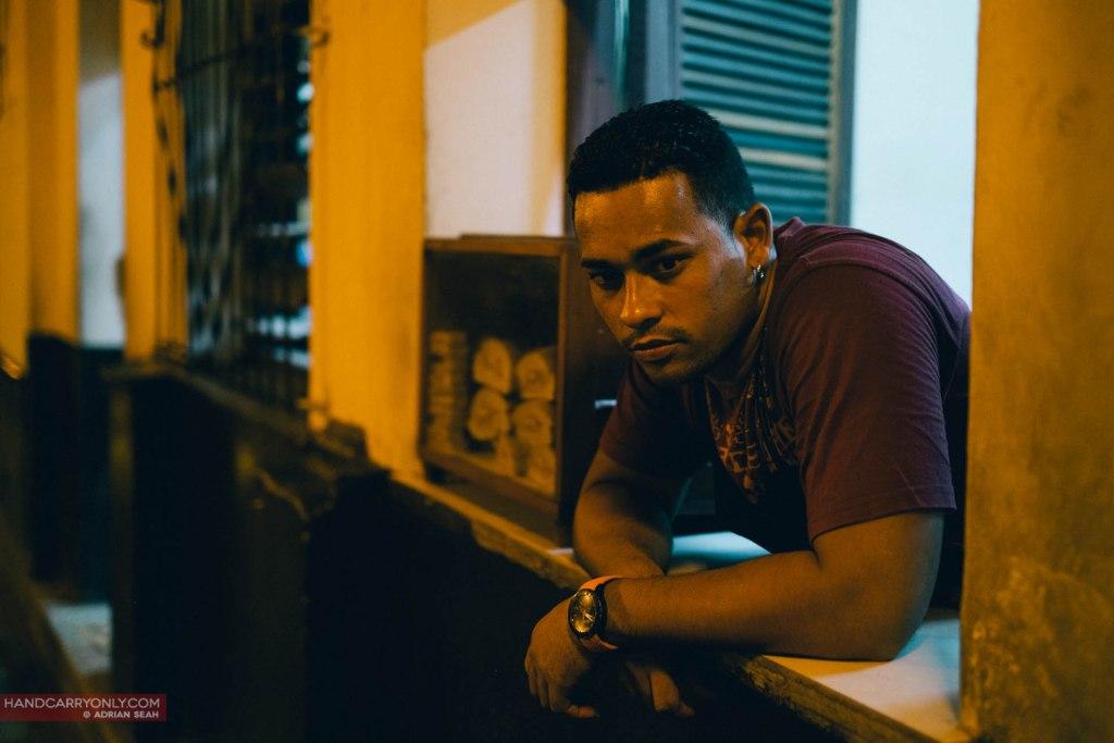 Portrait of cuban man, night in havana cuba