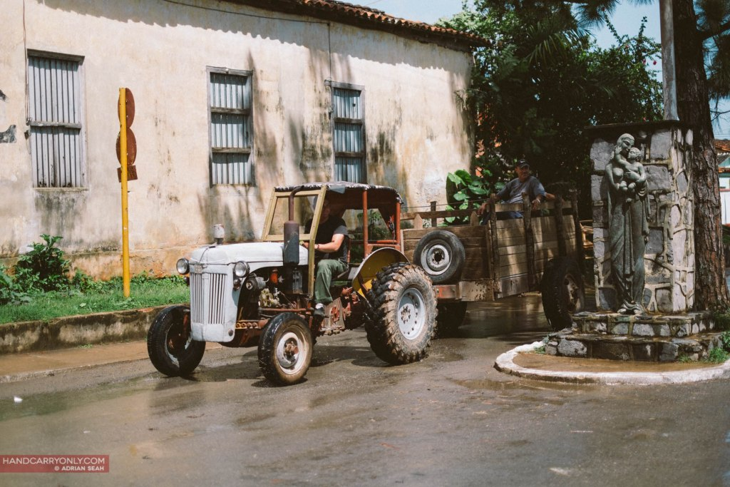 Tractor traffic in vinales cuba
