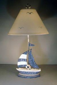 "Blue Sailboat Electric Lamp 32"""