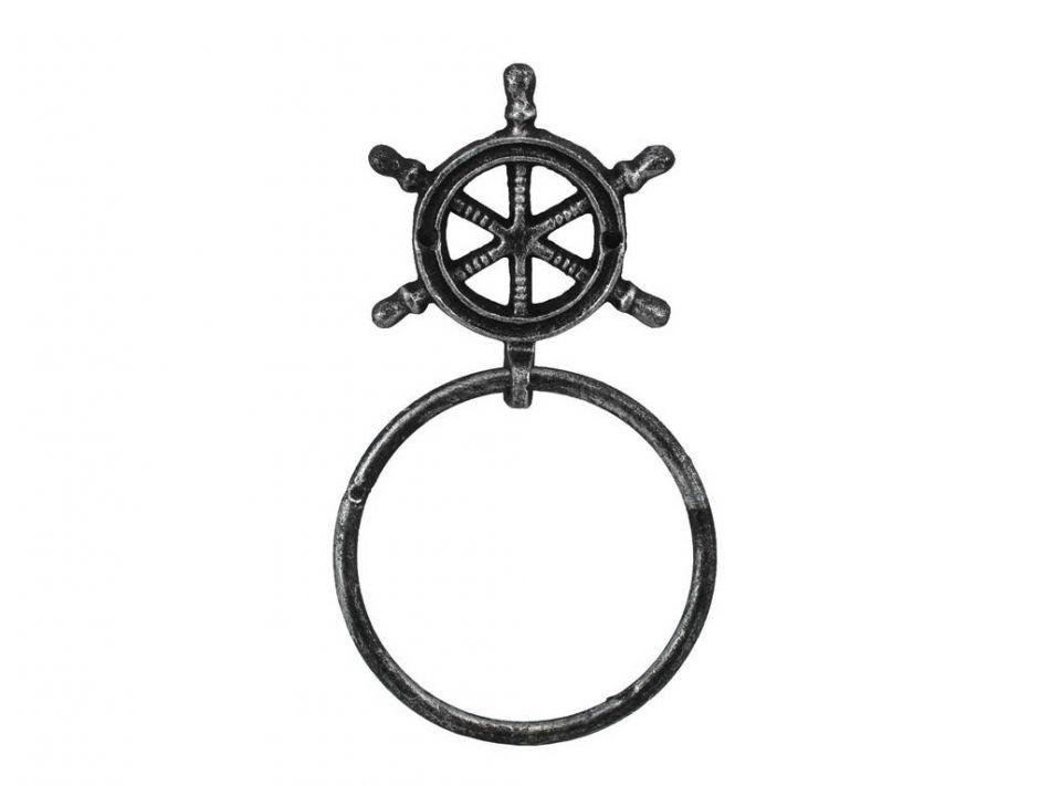 Wholesale Antique Silver Cast Iron Ship Wheel Towel Holder