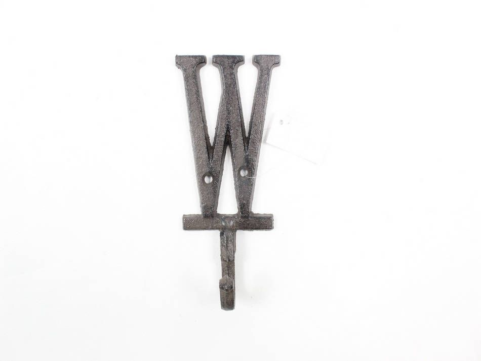 Wholesale Cast Iron Letter W Alphabet Wall Hook 6in