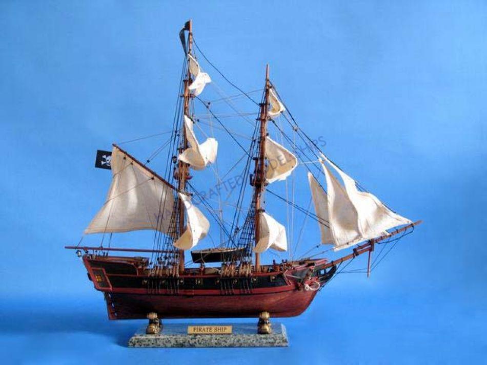Buy Wooden Caribbean Pirate Ship Model 26in  White Sails  Model Ships