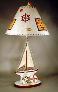 "Nautical Sailboat Electric Lamp 32"""