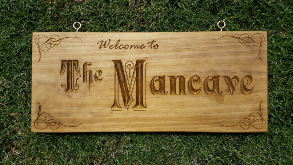 Man Cave Signs Melbourne : Wooden signs engraved plaques rustic timber australian workshop