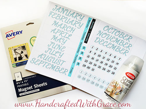 photo relating to Printable Magnets called Totally free Magnetic Calendar Printable » Handcrafted With Grace