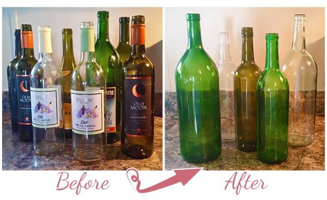 Cleaning Wine Bottles the Easy Way www.handcraftedwithgrace.com