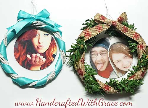 Super Easy Memory Wreath Christmas Ornament DIY