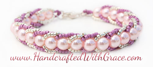 Woven Braid Beaded Bracelet Sample in Pink and Silver