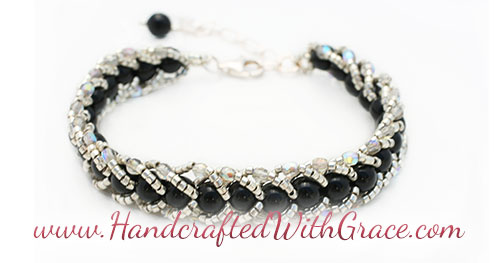 Woven Braid Beaded Bracelet Sample in Black and Silver