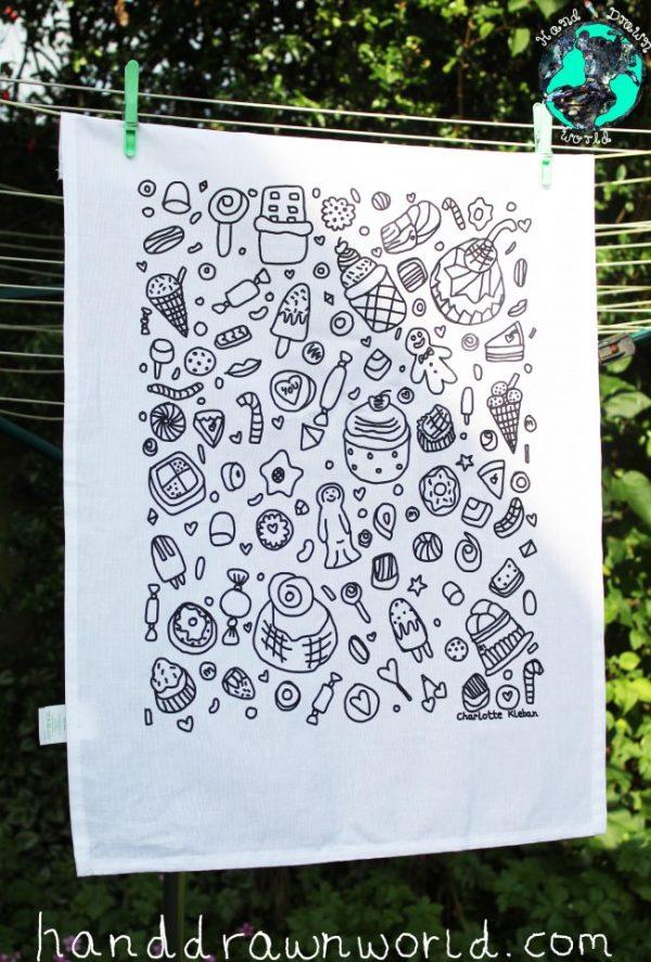 Hand Drawn confectionary design cotton screen printed tea towel