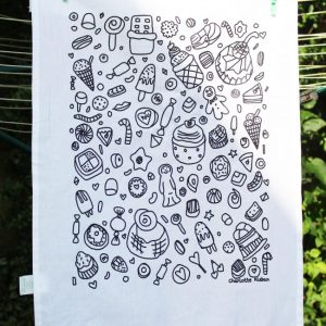 Hand Drawn confectionary design cotton screen printed tea towel