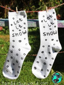 let-it-snow-socks-227x300 Hand Drawn Candy Canes Design Christmas Unisex Socks