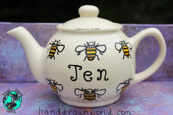 Hand Drawn personalised bee design teapot, small teapot, large teapot, from Charlotte Kleban & Hand Drawn World