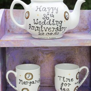Hand Drawn clock design teapot gift set from Charlotte Kleban & Hand Drawn World