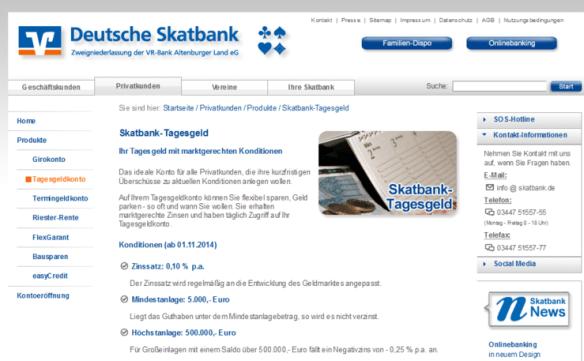 Webseite der Deutschen Skatbank: Strafzinsen für Einlagen ab 500.000 Euro. Quelle: Screenshot
