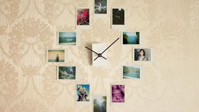 Reloj de pared con fotos DIY