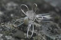 Ring, blomma i silvertråd