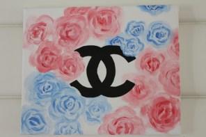Chaneltavla med rosor (mått 22x27cm)