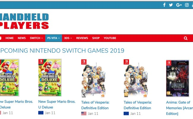Upcoming Nintendo Switch Games 2019 Handheld Players