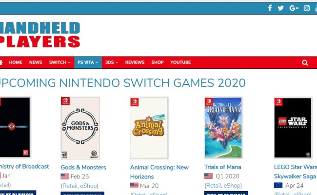 Upcoming Nintendo Switch Games 2020 Handheld Players