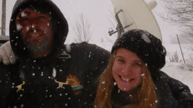Jess and dad in the snow