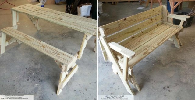 Make Folding Bench and Picnic Table Combo - DIY & Crafts - Handimania ...