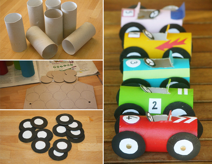 Toilet Paper Roll Race Cars Collage