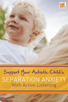 little boy in his moms arms in a pinterest image about supporting an autistic child's separation anxiety