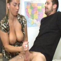 Mature busty teacher tugging younger students cock