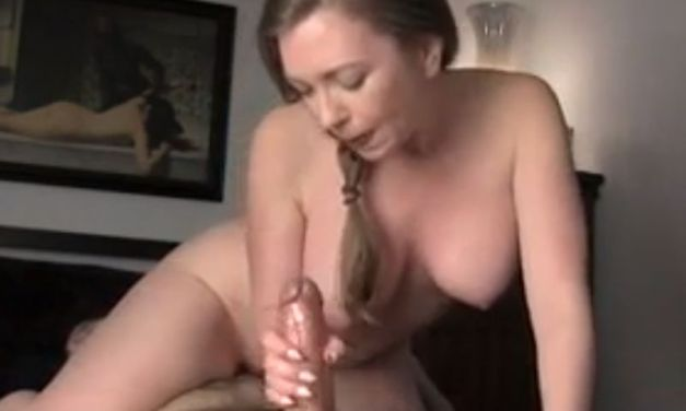 Busty girlfriend is happy when his cock starts spurting